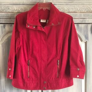 Chico's Red Cotton Stretch 3/4 Sleeve Jacket
